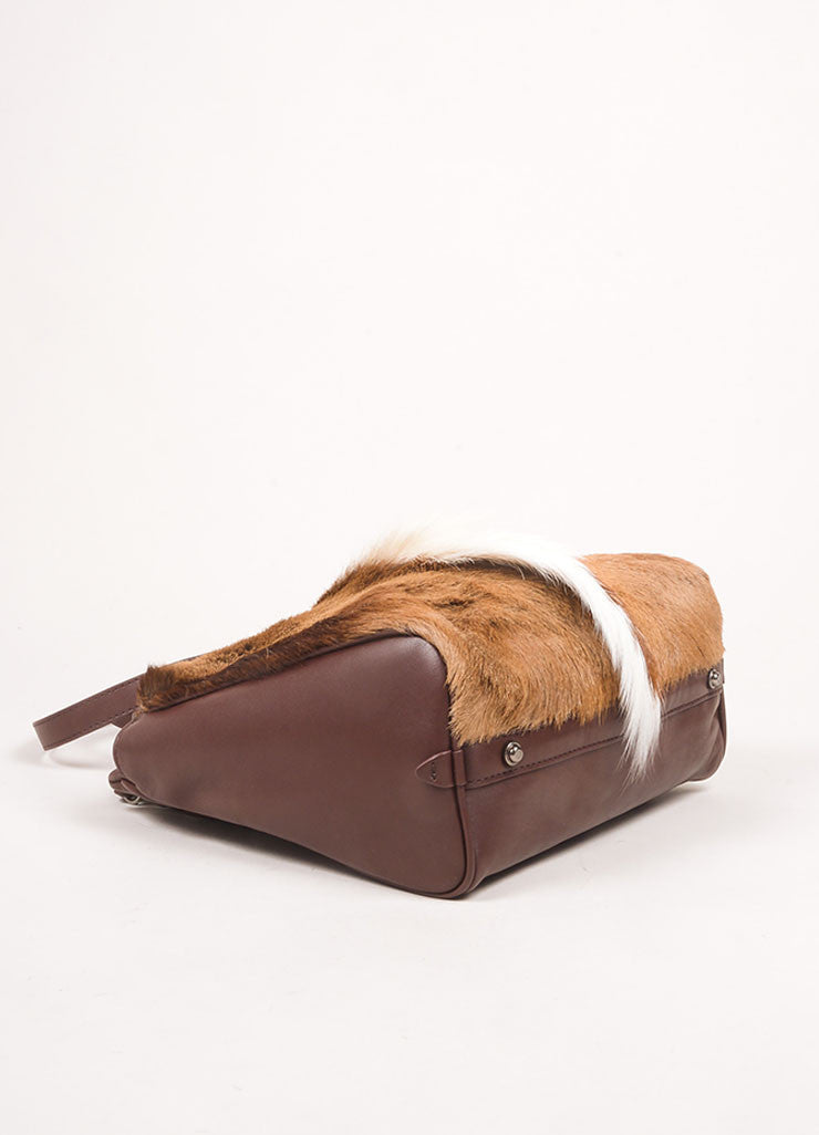 "3.1 Phillip Lim Brown Leather and Springbok Antelope Fur Small ""Ryder"" Satchel Bag Bottom View"