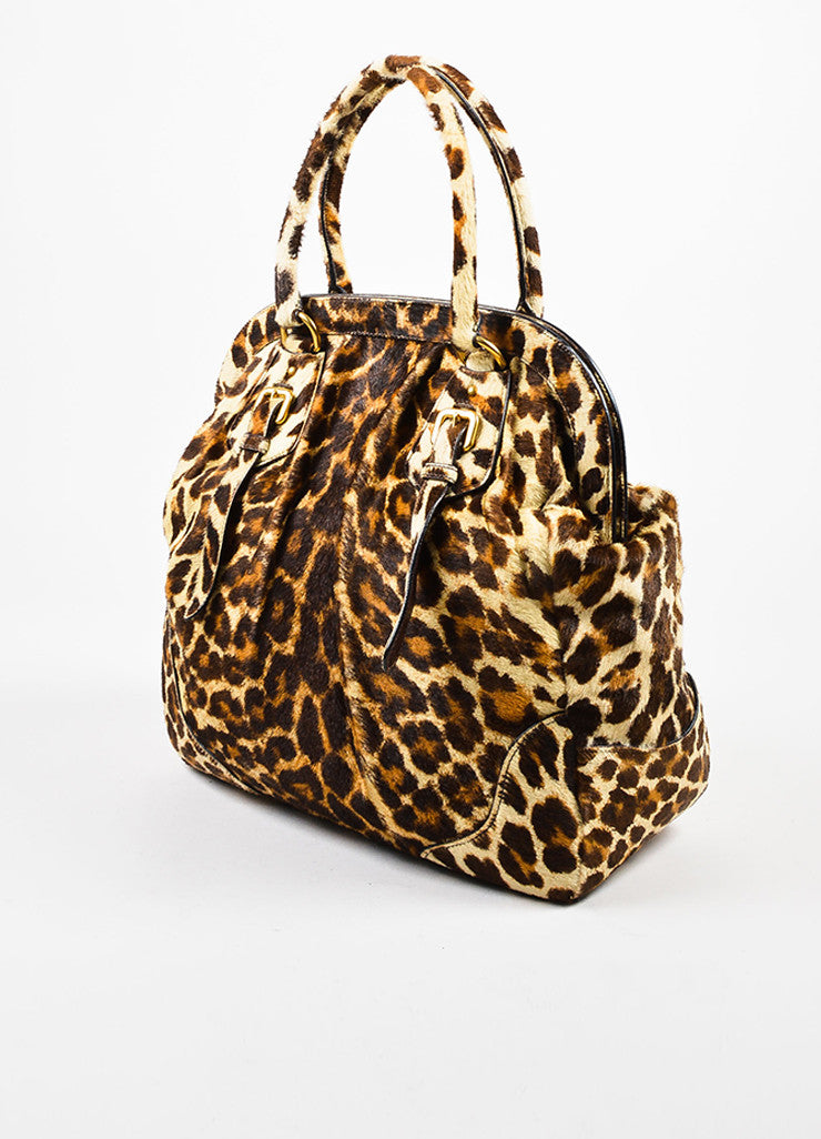 Prada Brown, Tan, and Cream Pony Hair and Leather Leopard Print Cavallino Frame Tote Bag Sideview