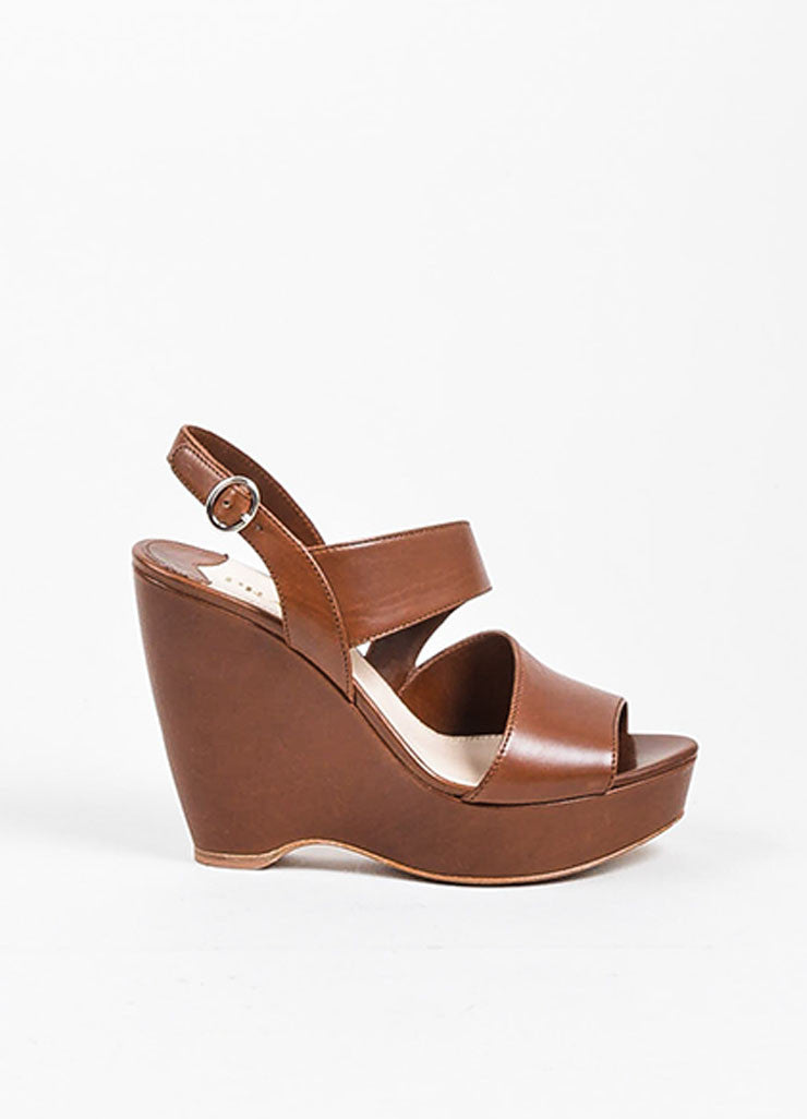 Brown Prada Leather Asymmetrical Strap Wedge Heel Sandals Sideview