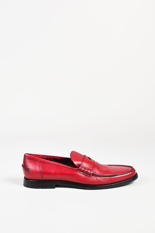 Prada Red and Black Leather Loafers Sideview