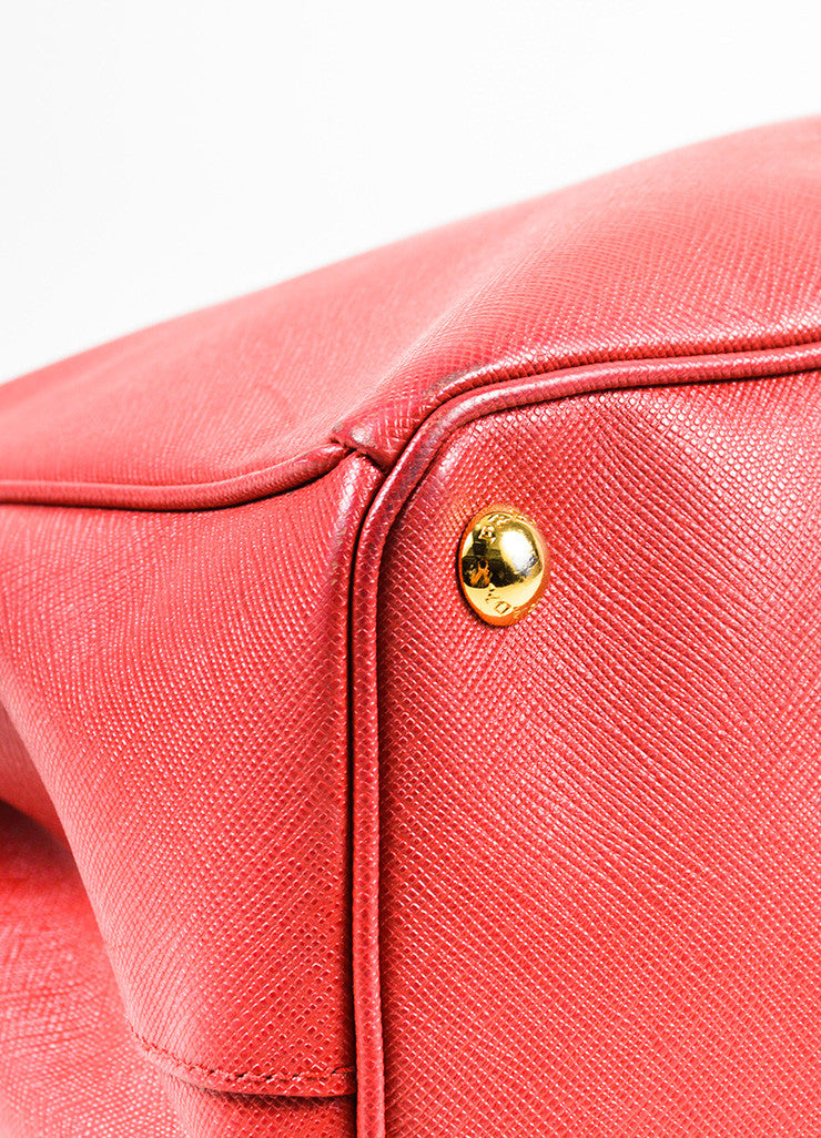 "Prada Red Saffiano Lux Leather ""Medium Executive Tote"" Handbag Detail"