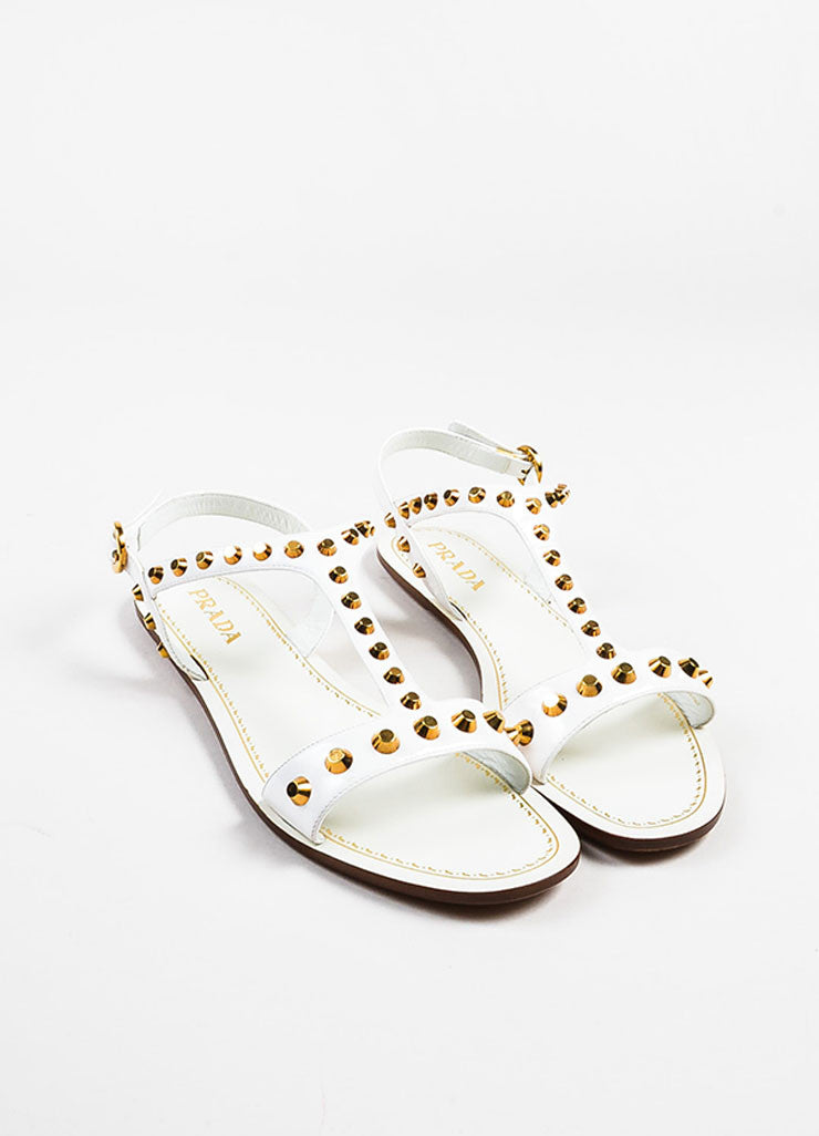 Prada White Patent Leather Gold Toned Studded Flat T-Strap Sandals Frontview