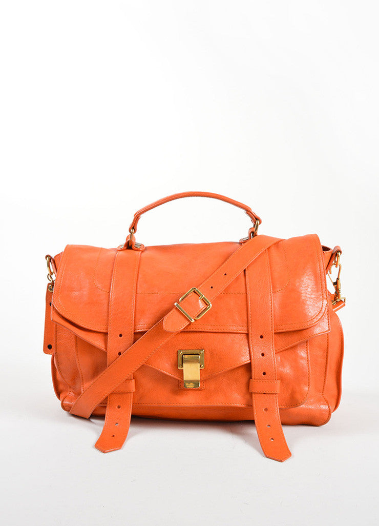"Proenza Schouler Orange ""PS1"" Large Satchel Flap Bag Frontview"