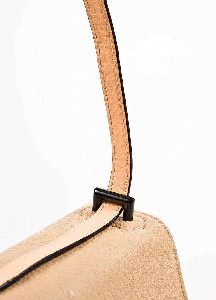 Reed Krakoff Cream, Yellow, and Taupe Leather Color Block Cross Body Bag Detail 2