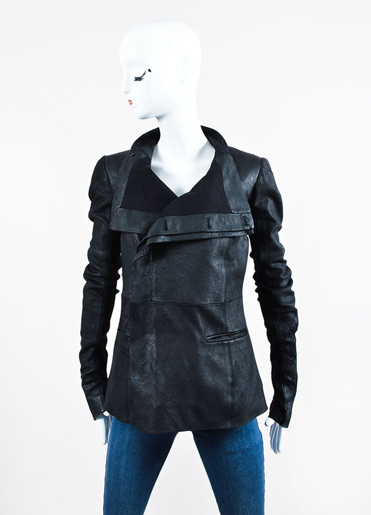 Black Rick Owens Leather Distressed Knit Jacket Frontview