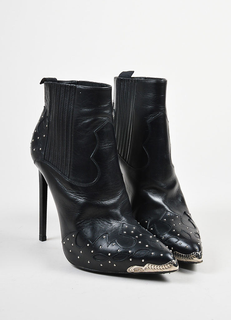 Black Silver Toned Studded Steel Toe Saint Laurent Western Heeled Ankle Boots Frontview