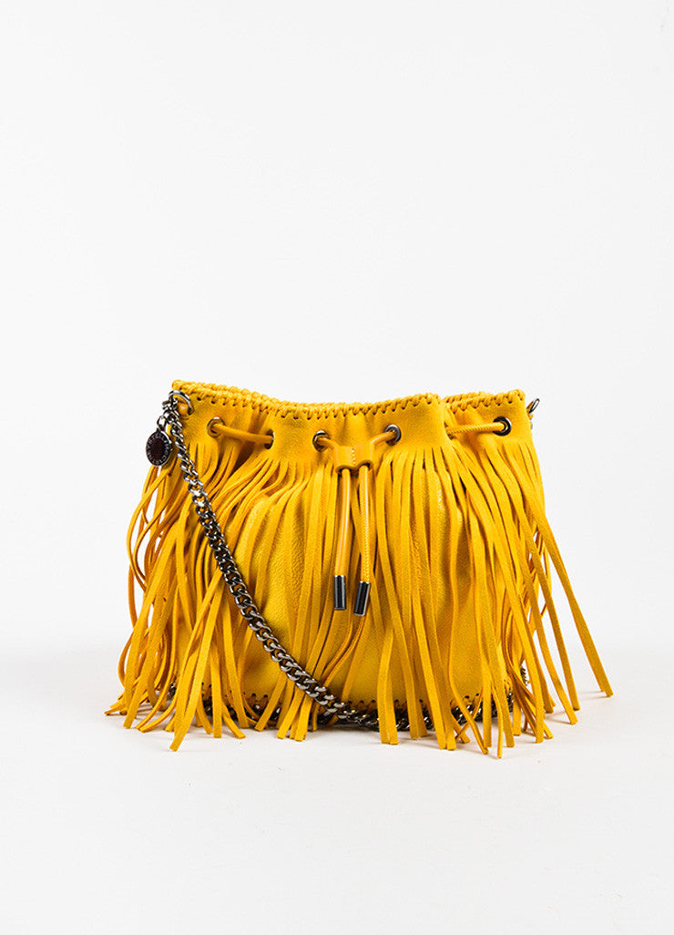 "Stella McCartney Yellow Shaggy Deer ""Sun Falabella"" Fringe Bucket Bag Frontview"