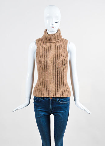 The Row Tan Chunky Knit Turtleneck Sleeveless Sweater Frontview