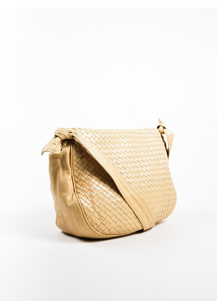 Bottega Veneta Cream Woven Leather Saddle Bag Sideview