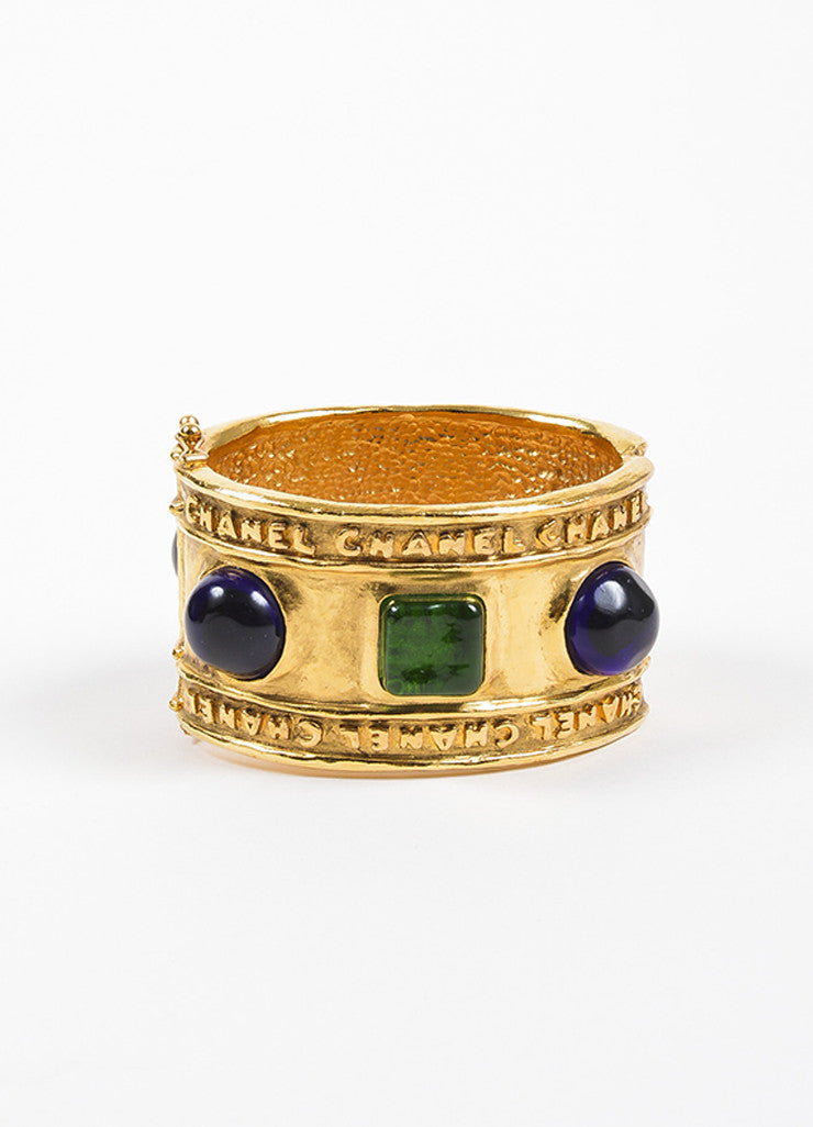 Chanel Gold Toned Hammered Blue and Green Stone Embellished Cuff Bracelet Frontview