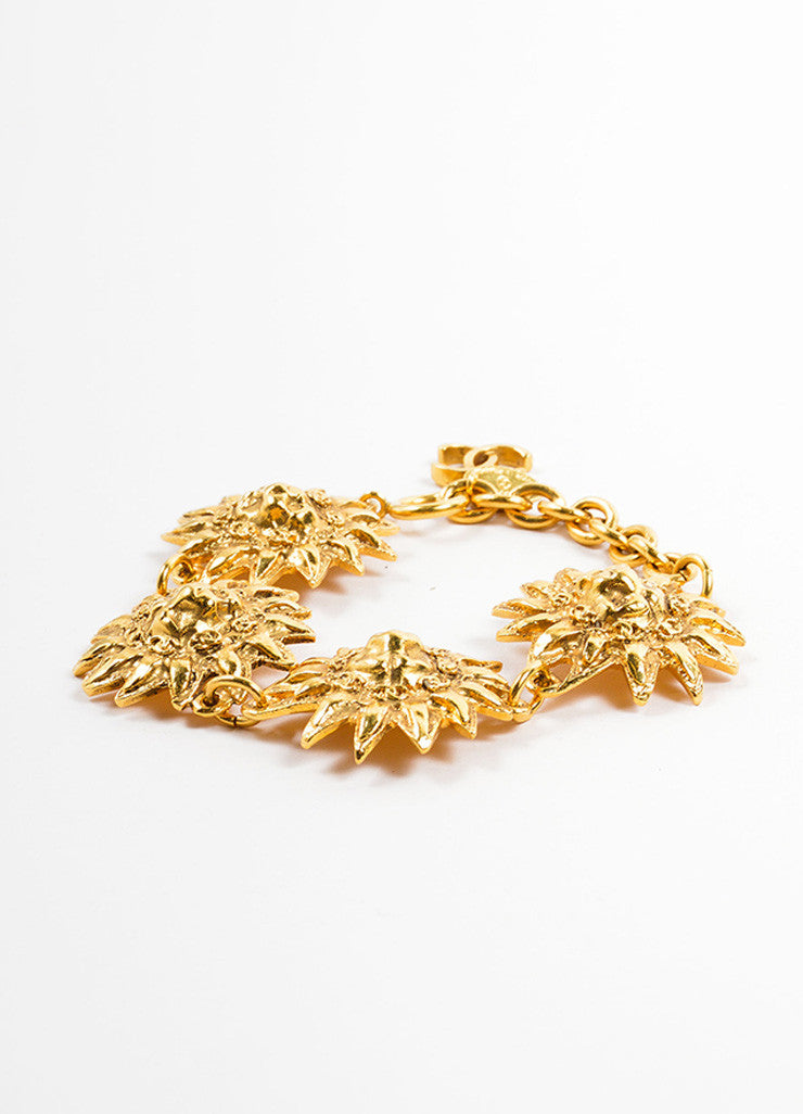 "Chanel Gold Toned Metal Lion Head Sunburst ""CC"" Charm Link Bracelet Sideview"