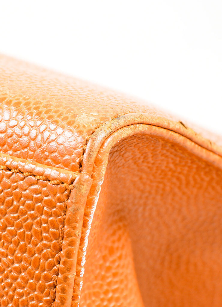 "Cognac and Orange Chanel Large ""CC"" Caviar Square Tote Bag Detail 2"
