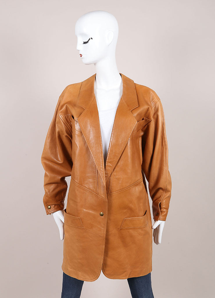 Claude Montana Cognac Leather Oversized Long Jacket Frontview