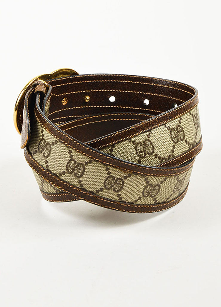 Gucci Beige and Brown Coated Canvas and Leather Monogram Gold Toned 'GG' Belt Backview