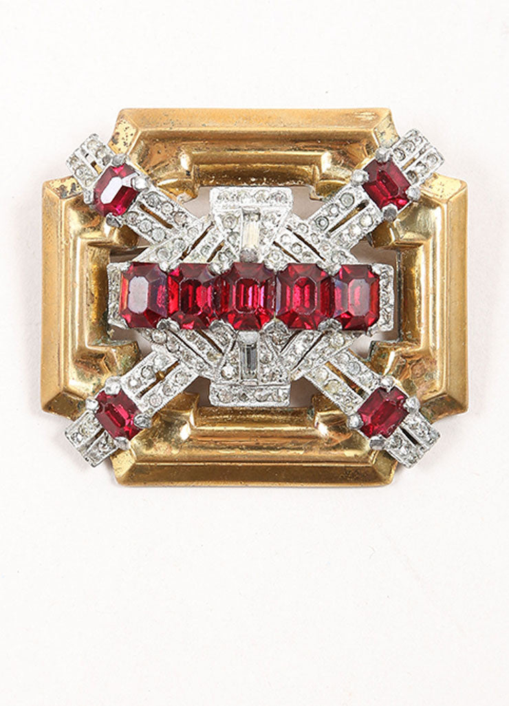 McClelland Barclay Brass and Silver Toned and Red Rhinestone Deco Pin Frontview