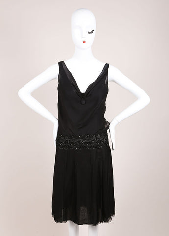 Valentino Black Silk Sequin Embellished Sleeveless Dress Frontview