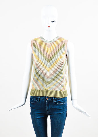 Multicolor Valentino Cotton Chevron Stripe Knit Sleeveless Sweater Front