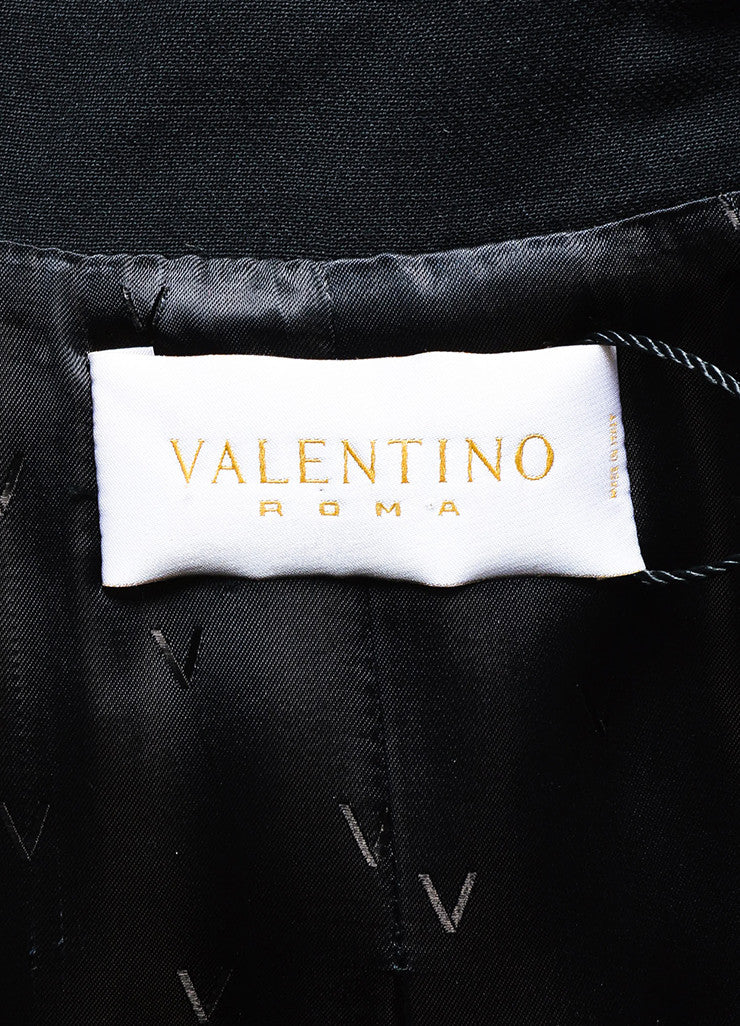 Valentino Roma Black Wool Feather Sequin Embellished Coat Brand