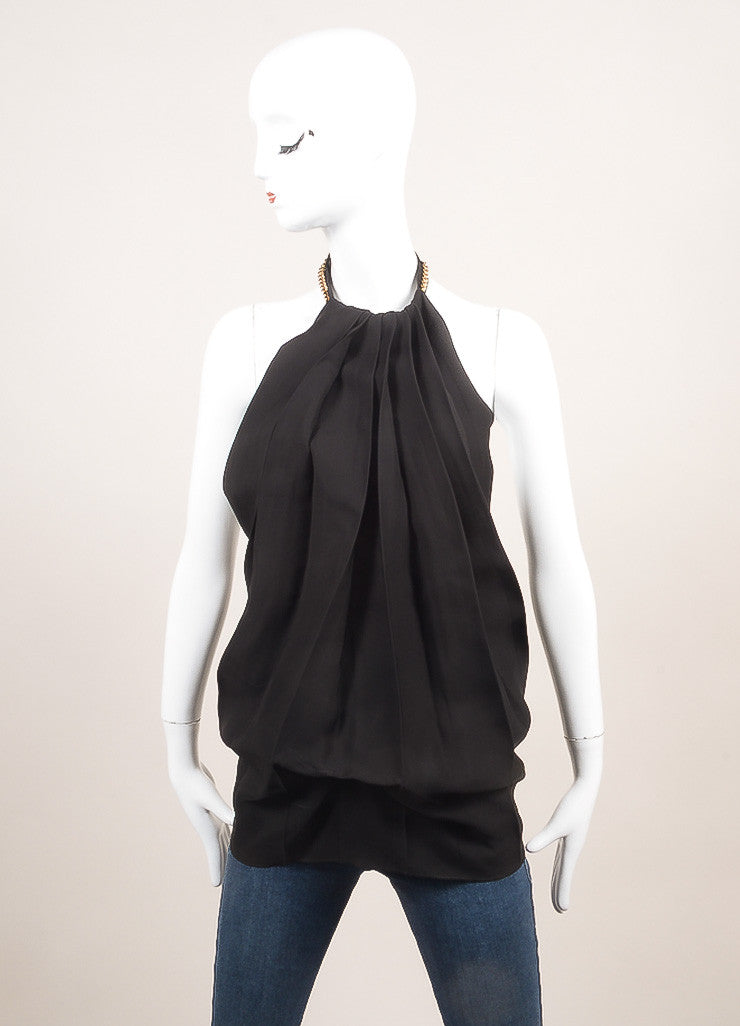 Victoria Beckham New With Tags Black Pleated Open Back Chain Link Halter Top Frontview