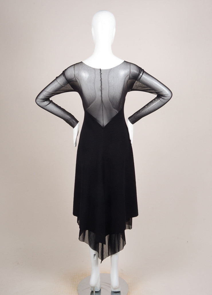 Yohji Yamamoto Black Wool Mesh Long Sleeve Handkerchief Hem Dress Backview