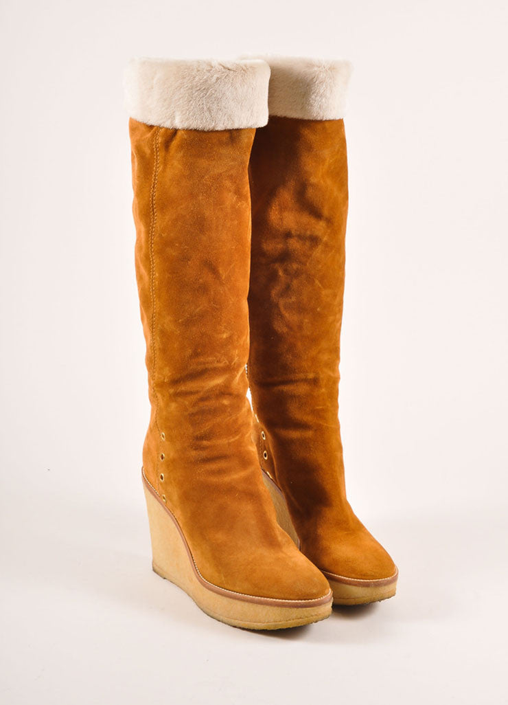"Yves Saint Laurent Tan Suede and Shearling ""Ida"" Knee High Wedge Boots Frontview"