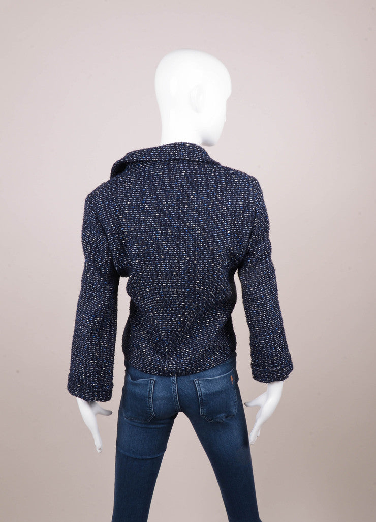 Navy Blue and White Four Pocket Zip Up Tweed Jacket
