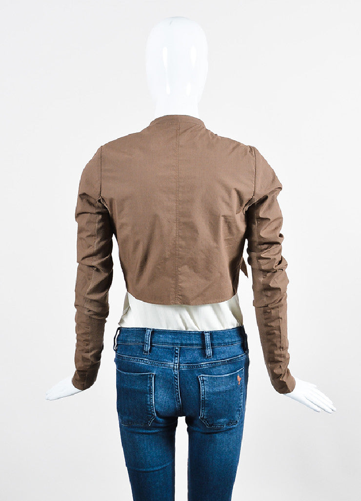 """Bronze"" Brown Rick Owens Cotton Draped Cropped Tie Jacket Backview"