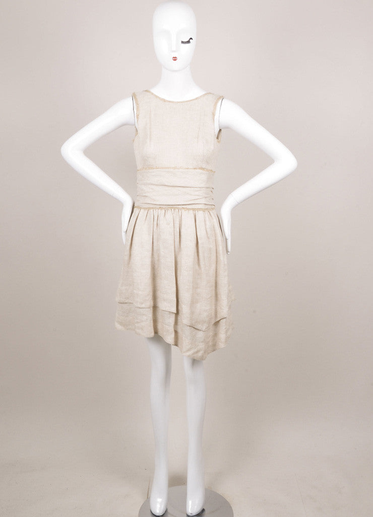 Fendi Tan Textured Pleated Ruched Sleeveless Dress Frontpage