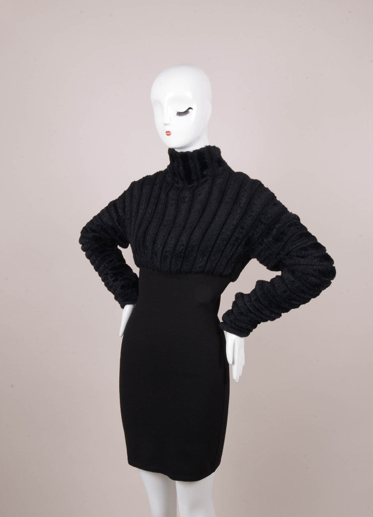 Black Long Sleeve Bodycon Dress With Textured Sleeves Luxury