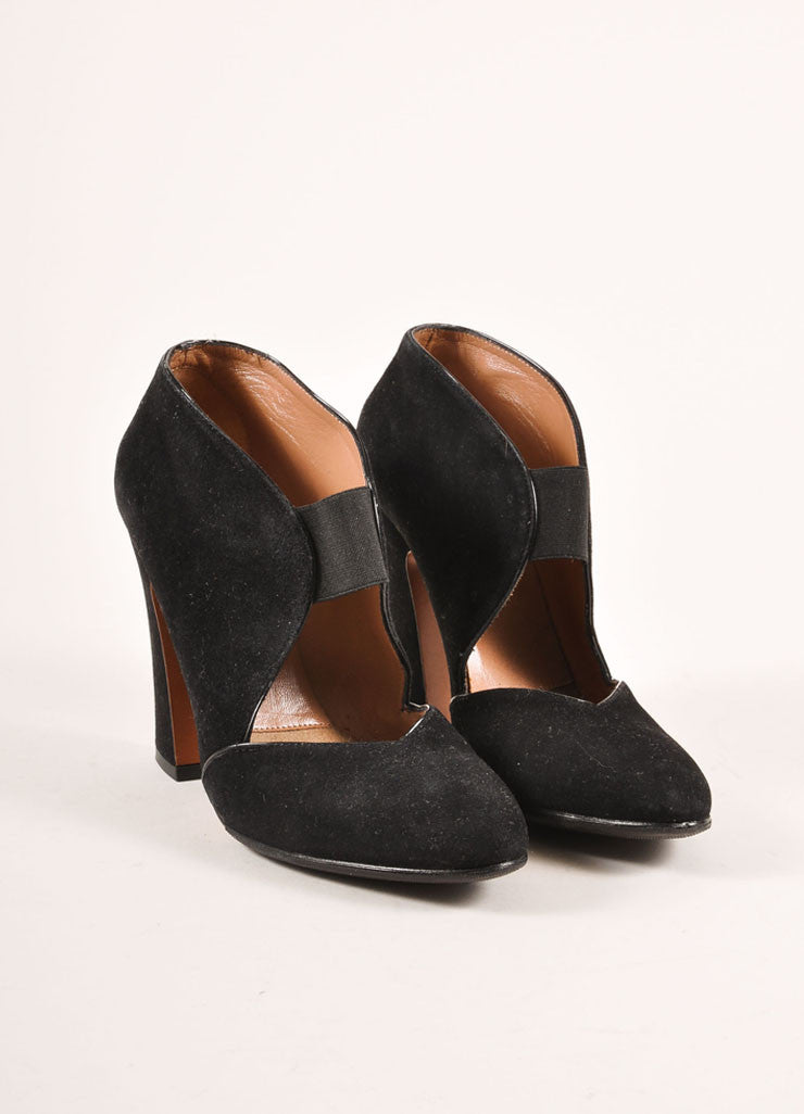Alaia Black Suede Elastic Strap Chunky Heels Frontview