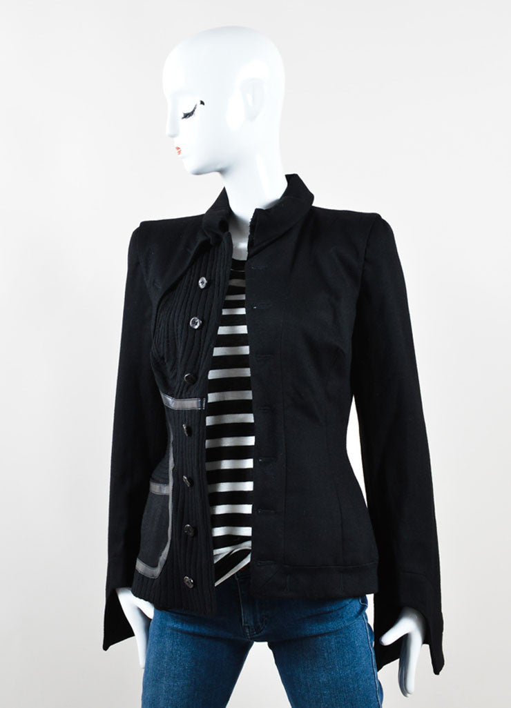 Alexander McQueen Black Wool and Cashmere Blend Leather Trim Ribbed Jacket Frontview