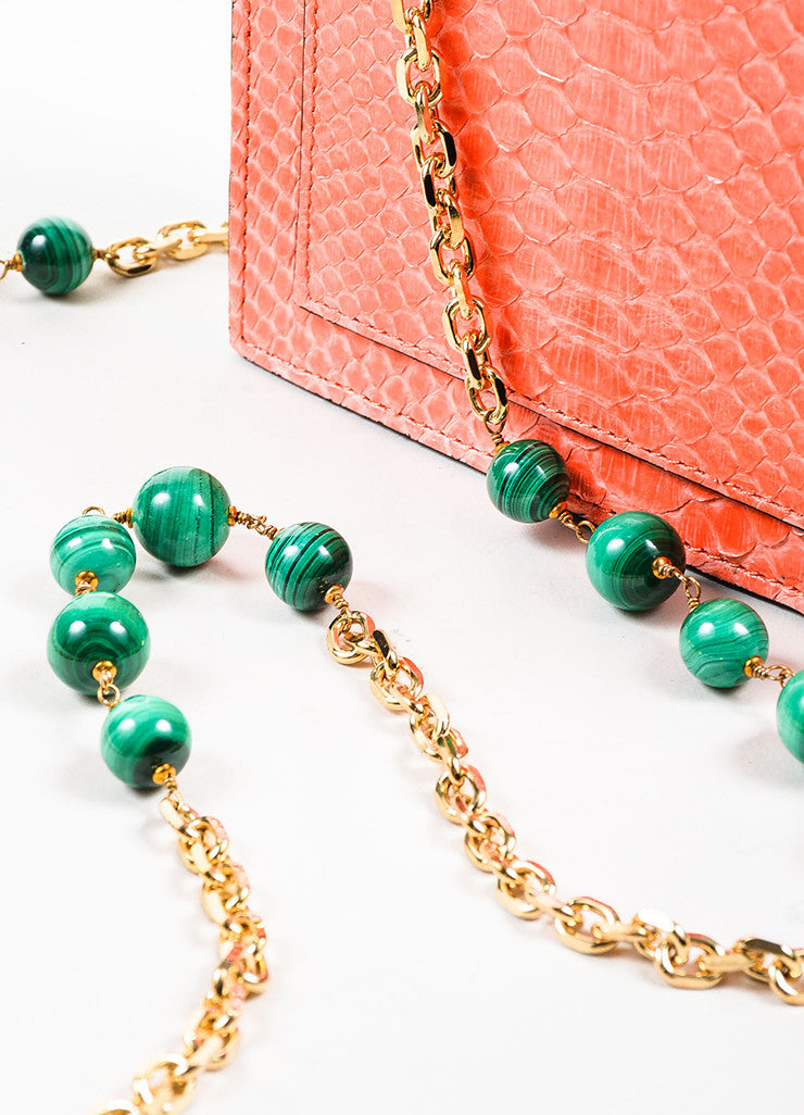 "Coral, Black, and Green Andrew Gn ""Chryscolla"" Python Leather Bag Detail 2"