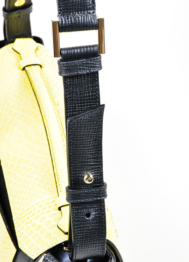 Yellow and Black Andrew Gn Snakeskin Leather Marble Stone Flap Bag Detail 2