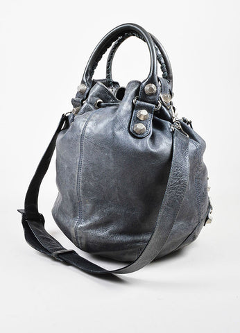 "Balenciaga Grey Distressed Leather ""Giant 21 PomPon"" Bucket Bag Sideview"