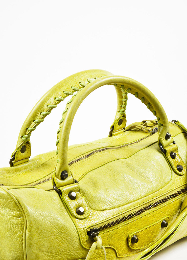 Lime Green Balenciaga Leather Pompon Studded Twiggy Bag Detail 4