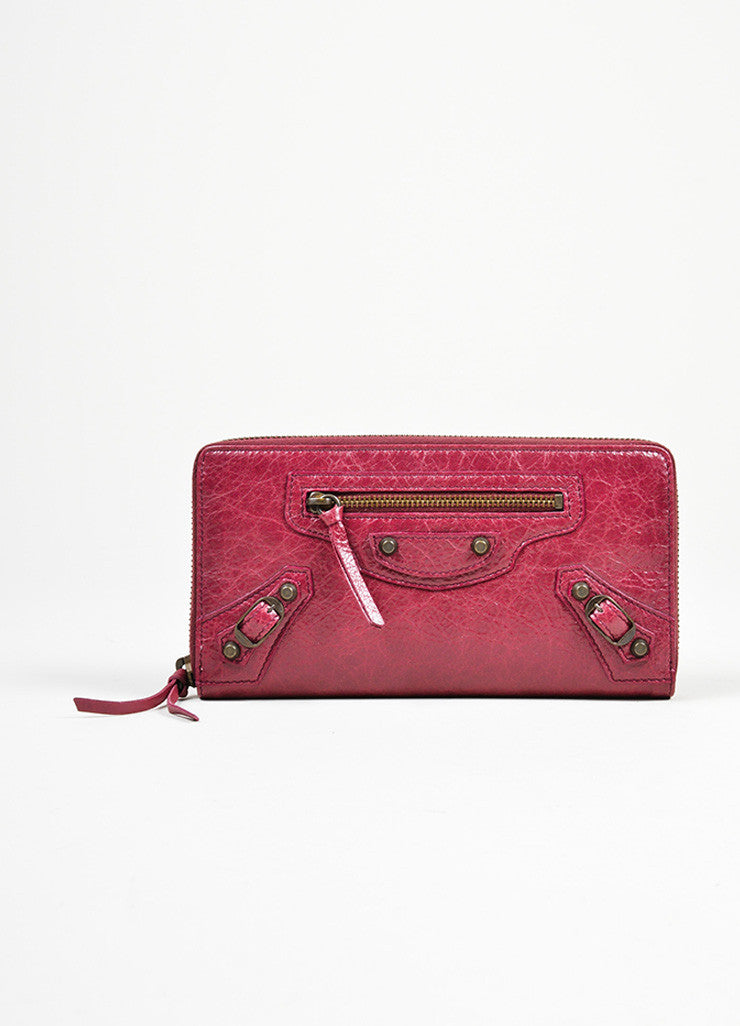 Maroon Red Leather Classic Continental Zip Around Wallet Frontview