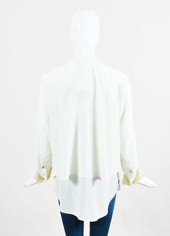 "White Belstaff Silk Crepe Layered Buttoned Long Sleeve ""Lissa"" Blouse Backview"