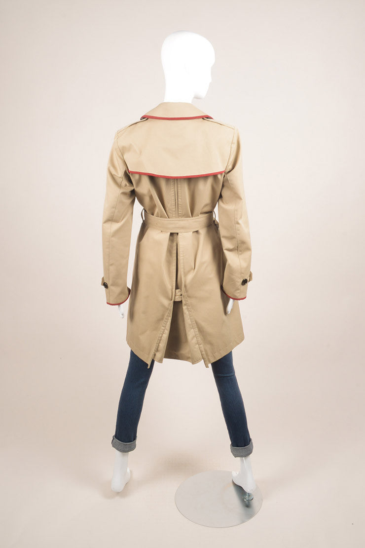 Burberry Brit Tan Belted Trench Coat Backview