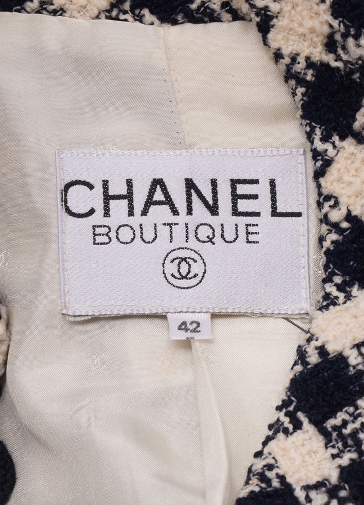 Chanel Navy and Cream Woven Check Button Up Jacket Brand