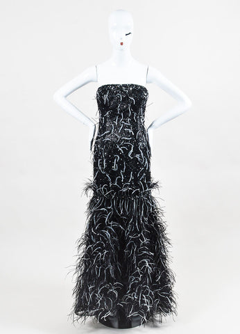 Carolina Herrera Black and Gunmetal Jacquard Sequin Feather Strapless Gown Frontview