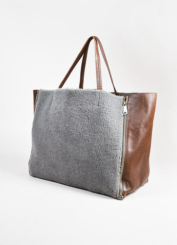 "Celine Brown Leather Gray ""Shearling Horizontal Cabas Tote"" Bag angle"