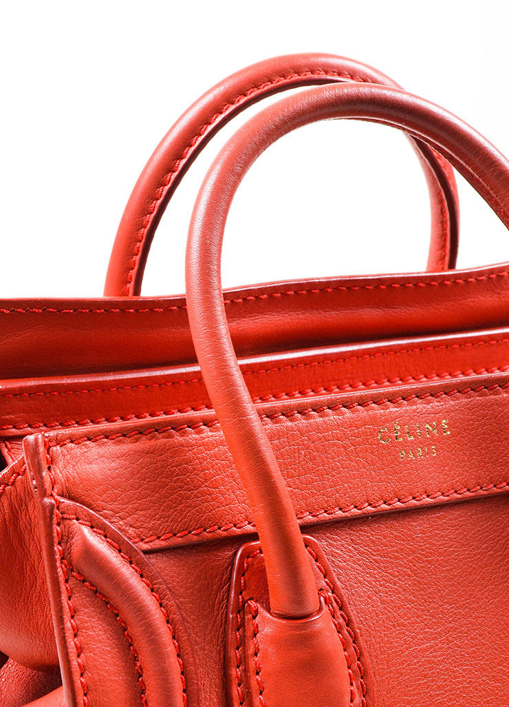 """Lipstick"" Red Celine Leather ""Nano Shopper"" Crossbody Tote Bag Detail 2"