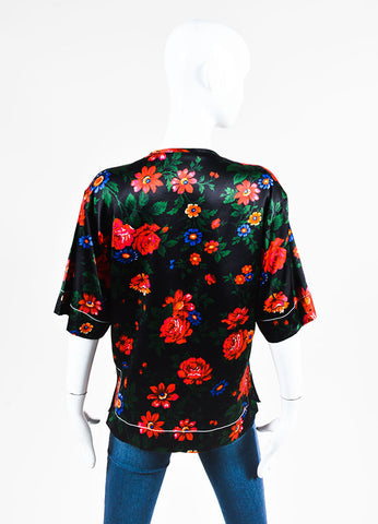 Black, Red, and Blue Celine Floral Print Silk Short Sleeve Pajama Top Backview