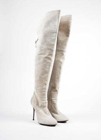 Grey Cesare Paciotti Suede Lace Up Over The Knee Boots Frontview