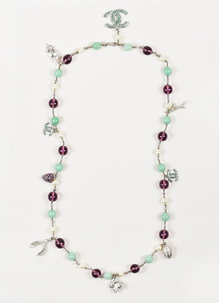 "Silver Toned, Green, and Purple Faux Pearl Beaded Chanel ""Lucky Symbols"" Necklace Frontview"