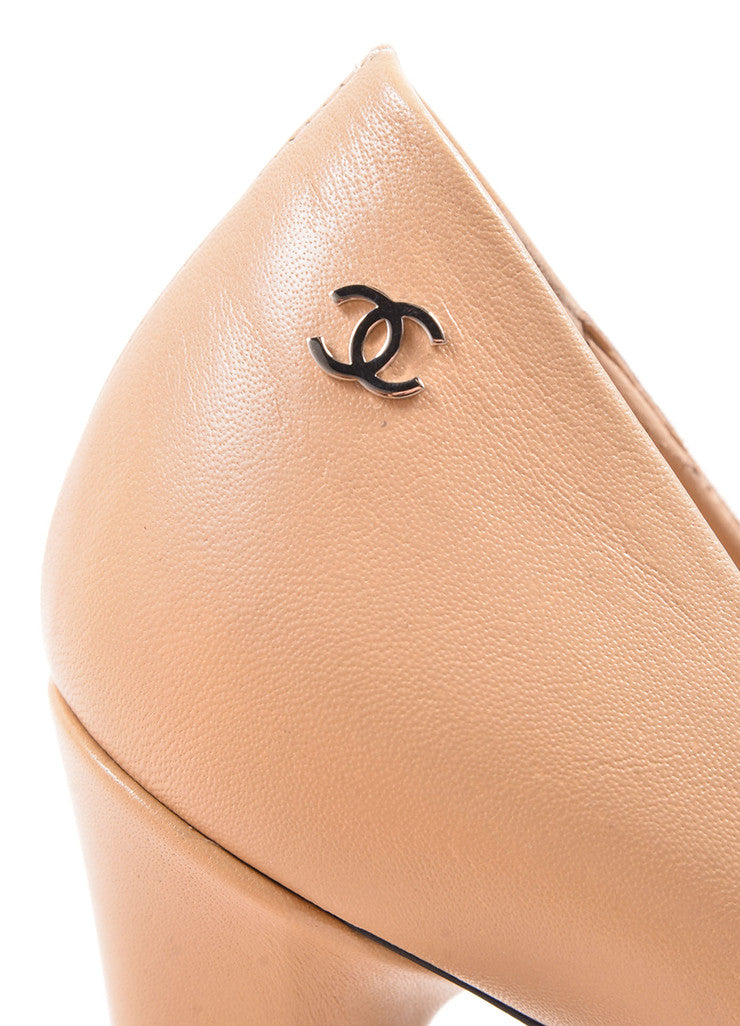 Chanel Tan and Black Leather Cap Toe Loafer Pumps Detail