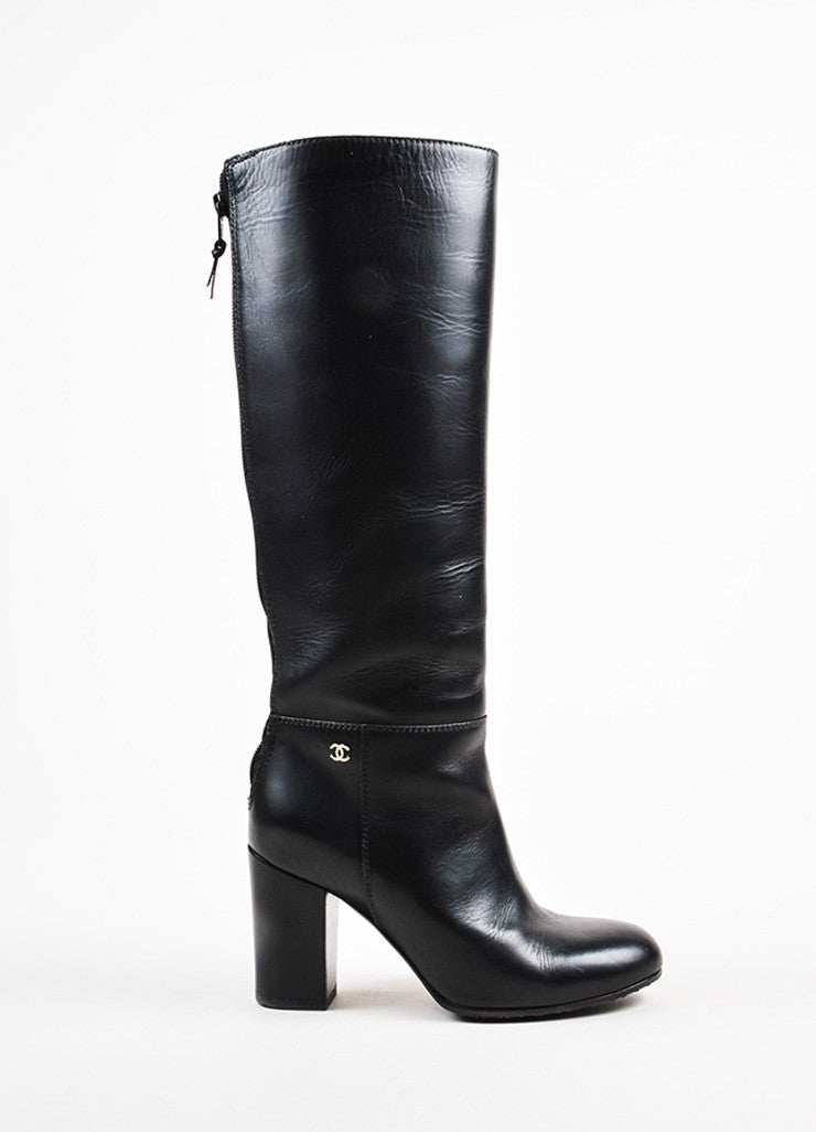 Chanel Black Leather 'CC' Detail Calf High Zipped Riding Boots Sideview