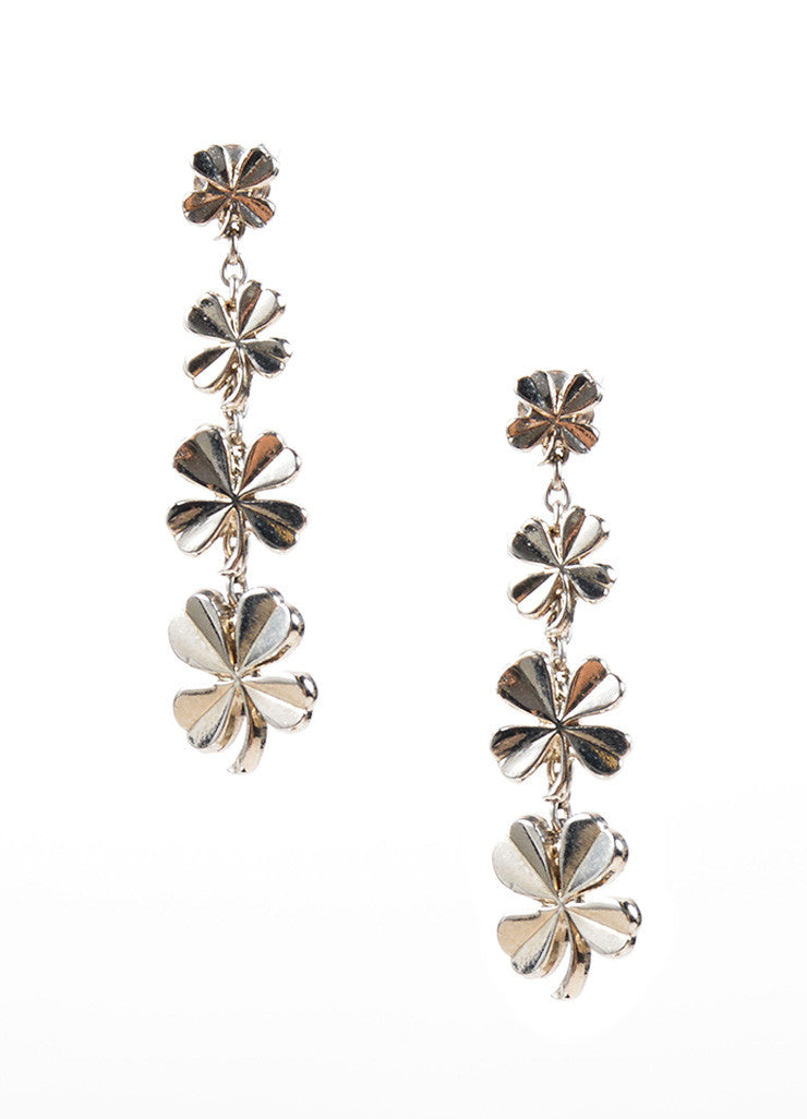 Chanel Silver Toned Four Leaf Clover Dangle Earrings Frontview