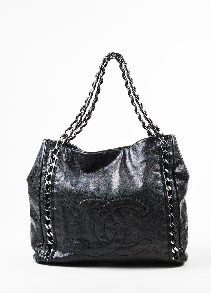"Black Chanel Caviar Leather Luxe Ligne ""Modern Chain"" Tote Bag Frontview"
