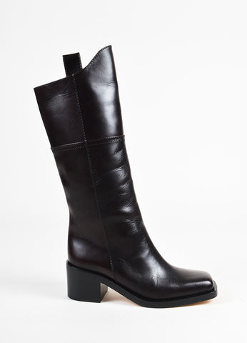 Chanel 'CC' Brown Leather Square Toe Riding Boots Side